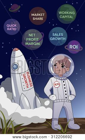 Business Growth Concept. A Businessman In A Space Standing With Folded Arms Above Rocket Lifting Off