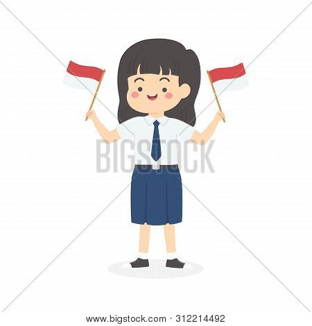 Cute Indonesian Junior High School Girl Student With Blue And White Uniform Holding Flag, Indonesia