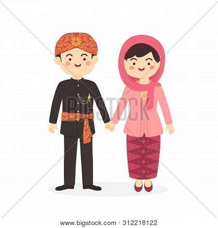 Betawi Jakarta Indonesia Couple, Cute Abang None Traditional Clothes Costume Man Woman Cartoon Vecto