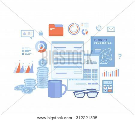 Accounting Concept. Financial Analysis, Tax Payment, Analytics, Data Capture, Statistics, Research.