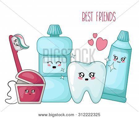 Kawaii Healthy Tooth And Dental Floss, Toothpaste, Brush - Best Friends Of Teeth, Cute Cartoon Chara