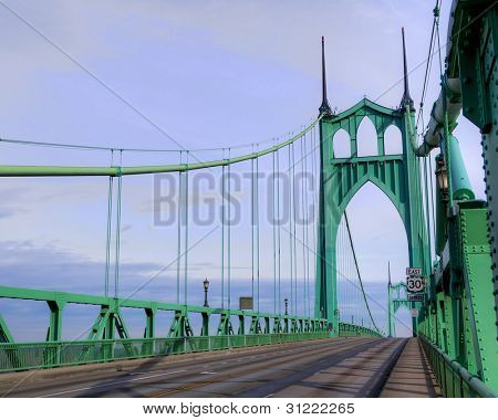 St. Johns Towers on steel suspension bridge in Portland, OR