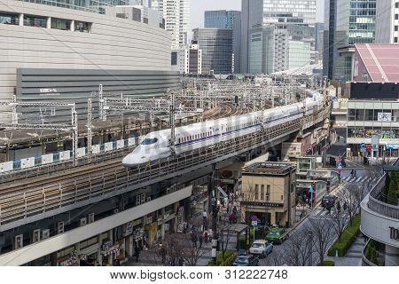 Tokyo, Japan - Mar 19, 2019: View Of Shinkasen Train In Downtown Tokyo. Shinkasen Is A Network Of Hi