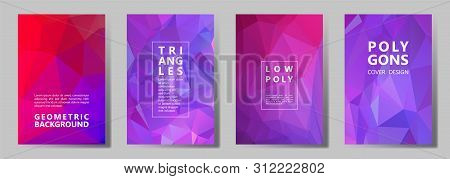 Facet Triangles Futuristic Brochure Covers Vector Graphic Design Set. Crystal Texture Polygonal Patt