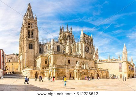Burgos,spain - May 12,2019 - Place Of Rey San Fernando With Cathedral Of Saint Mary In Burgos. Burgo