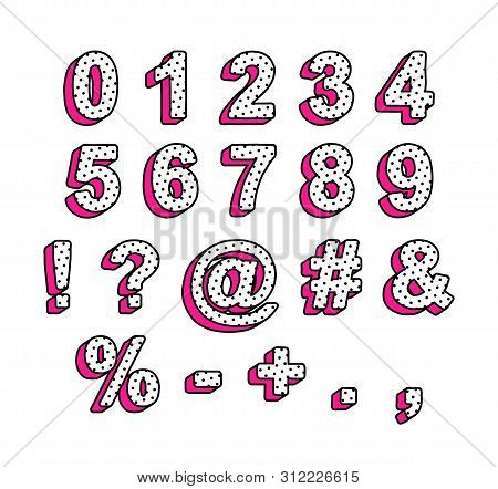 Vector Numbers And Symbols In The Style Of Lol Doll Surprise. Ready Design For The Design Of The Inv