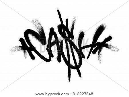 Sprayed Cash Font Graffiti With Overspray In Black Over White. Vector Illustration.