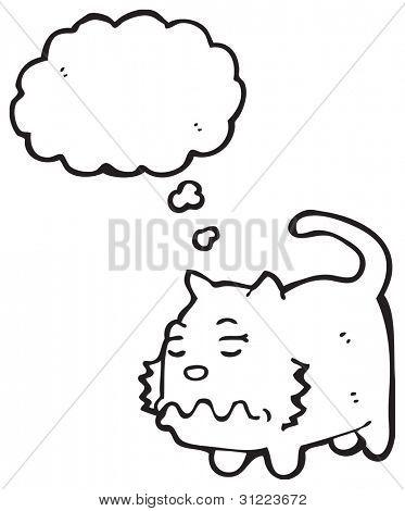 cartoon nauseous cat
