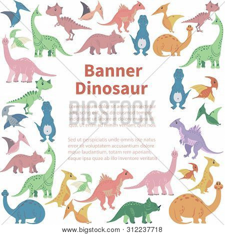 Square Banner From Cartoon Dinosaurs. Cute Hand Drawn Funny Illustration Of Dinosaurs Quadratic Comp