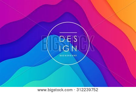 poster of Peak view abstract vector background. Mountain landscape card layout in bright vibrant rainbow color for minimal motion dynamic pattern design.