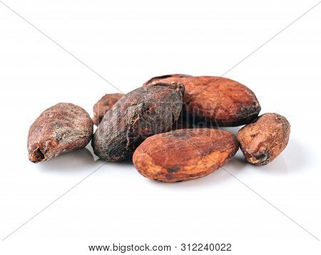 Raw Cacao Beans Top View On White Background. Close Up View Of Raw Cacao Beans Isolated On White Wit