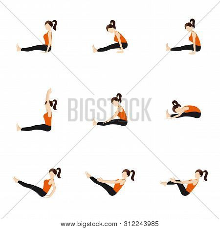 Illustration Stylized Woman Practicing Seated Yoga Postures