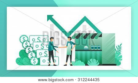 Small Business Loans. Roadside Shop That Get Loans From Bank Without Collateral. Borrow Debt To Deve