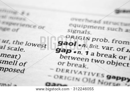 Word Or Phrase Gaol In A Dictionary