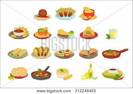 Mexican Food Signature Dishes Illustration Set. Traditional Cuisine Restaurant Menu Plates In Simpli