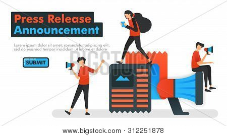 Press Release Announcement Vector Illustration. People Who Are Announcing New News And Influencing F