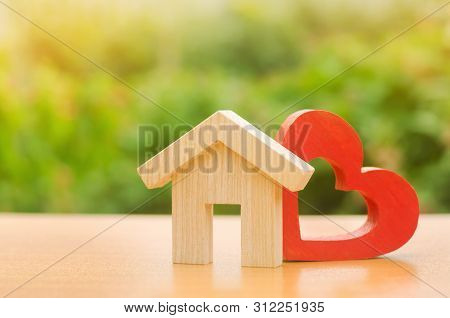 House With A Red Wooden Heart. House Of Lovers. Parental Hospitable Home. Housing Construction Of Yo