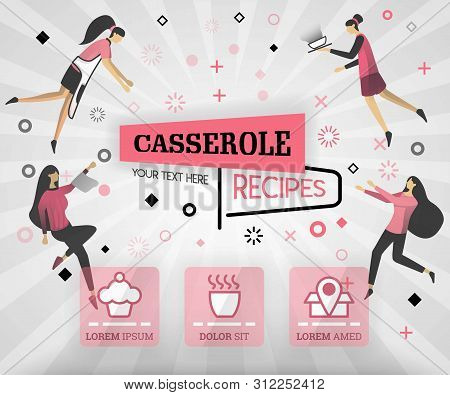 Pink Vector Illustration Concept. Casserole Recipes Cover Book.  Healthy Cooking Recipe And Deliciou