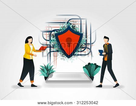 Vector Illustration Concept. People Accessing Data On Internet And Shields Secure Network Connection