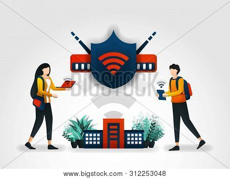 Vector Illustration Concept. Students Are Accessing Internet Safely Using A Wifi Network And Shield.