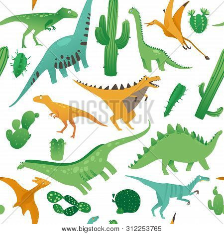 Seamless Pattern With Cute Cartoon Dinosaurs In Flat Style.