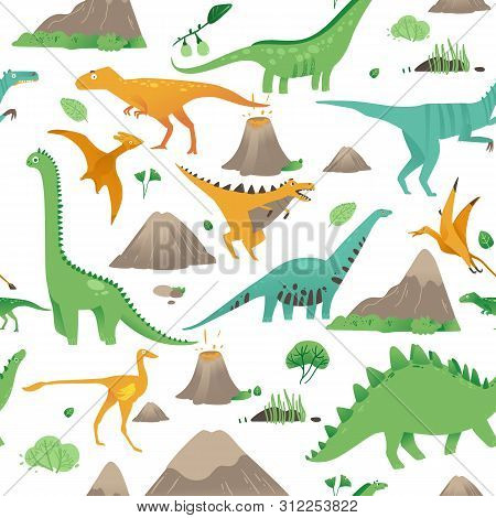 Seamless Pattern With Cute Cartoon Dinosaurs, Plants And Volcanoes In Flat Style.