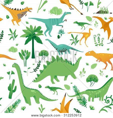 Seamless Pattern With Cute Cartoon Dinosaurs, Plants And In Flat Style.
