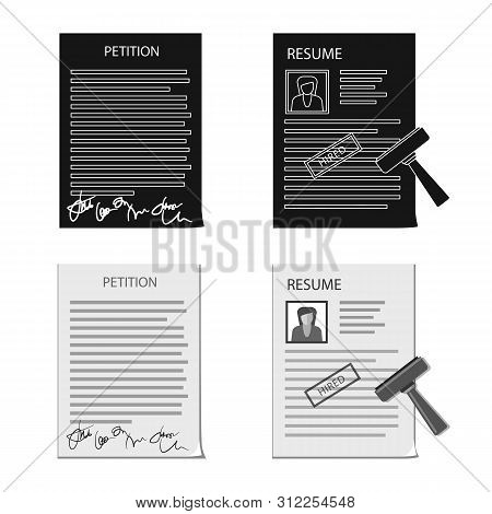 Vector Illustration Of Form And Document Sign. Collection Of Form And Mark Stock Vector Illustration