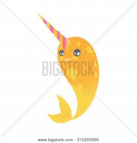Cute Cartoon Yellow Narwhal With Pink Horn, Shy And Modest Sea Unicorn With Gradient.