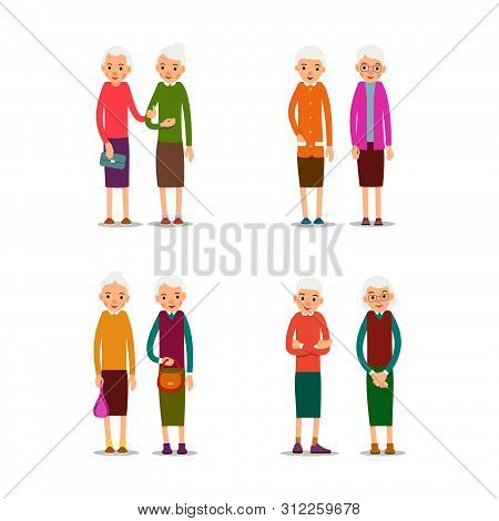 Old Women. Happy Retirement Lifestyle. Elderly Couple Smiling. Beautiful Set For Healthy Lifestyle D