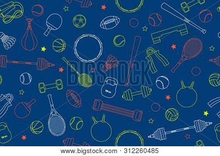 Sports Equipment Pattern. Set Of Colorful Sport Balls And Gaming Items At A Blue Background. Subject