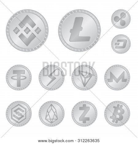 Vector Design Of Cryptography And Finance Icon. Collection Of Cryptography And E-business Stock Symb