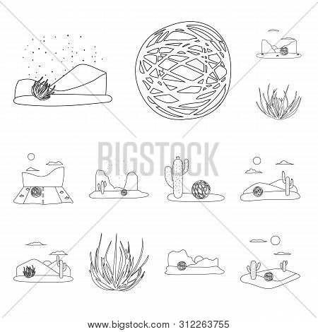 Isolated Object Of Wilderness And Texas Symbol. Set Of Wilderness And Pasture Stock Vector Illustrat