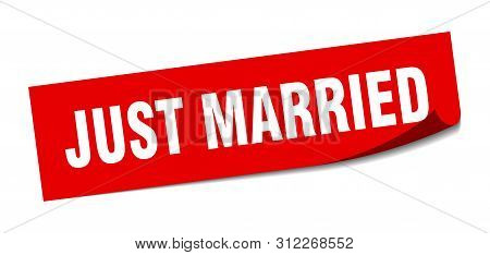 Just Married Sticker. Just Married Square Isolated Sign. Just Married