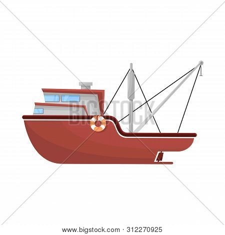 Vector Illustration Of Ship And Travel Sign. Set Of Ship And Naval Stock Symbol For Web.