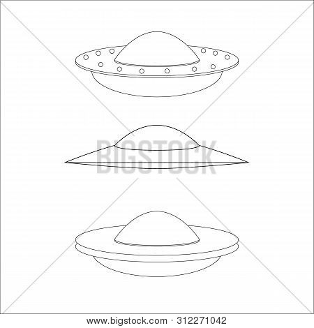 Ufo. Aliens. Space Ship Ufo With Black Light On Yellow Background. World Ufo Day. Flying Saucer.  Sp
