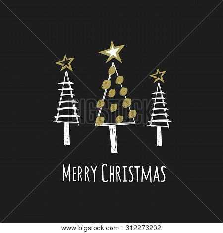 Christmas Card With Text Merry Christmas And Christmas Trees. Figure Of Christmas Trees On A Black B