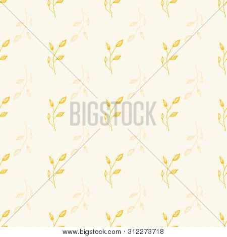 Delicate Line Art Gold Leaf Design Seamless Geometric Vector Pattern With Transparent Motifs On Crea