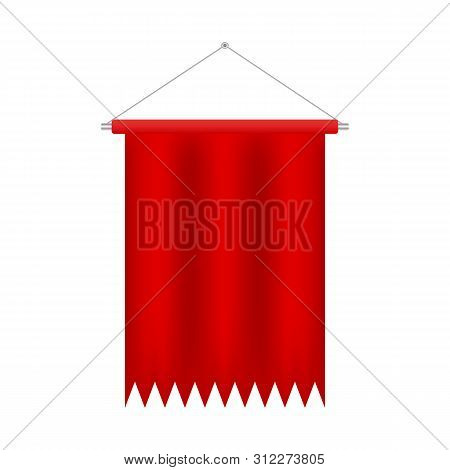 Soccer Flag Pennant Vector. Red Wall Hanged Pennant Template. Realistic Pennant Template. Blank 3d F