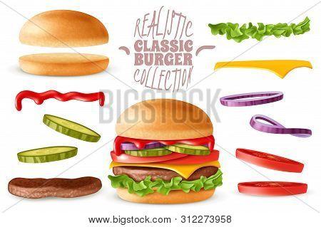 Realistic Classic Burger Elements Set. Realistic Ready Classic Burger With Isolated Elements Which A