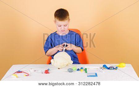 Medical Procedures For Teddy Bear. Medical Examination. Medical Education. Boy Cute Child Future Doc