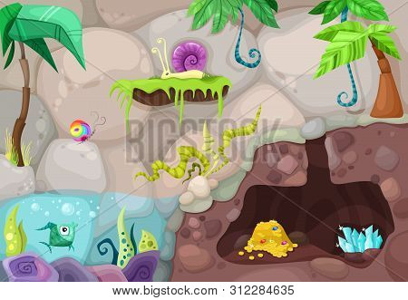 Colorful Background With Stones And Water And Dungeons