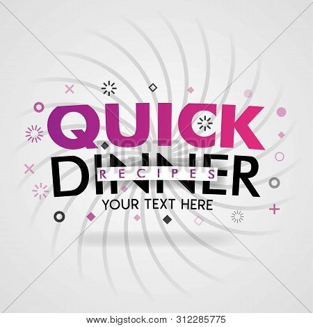 Pink Logo For Quick Dinner Recipes. For Recipe Websites, Food Blog, Today Recipes, Buy Food Mobile A
