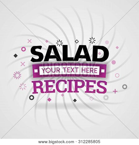 Pink Logo For Salad Recipes. For Recipe Websites, Food Blog, Today Recipes, Buy Food Mobile App, Fre