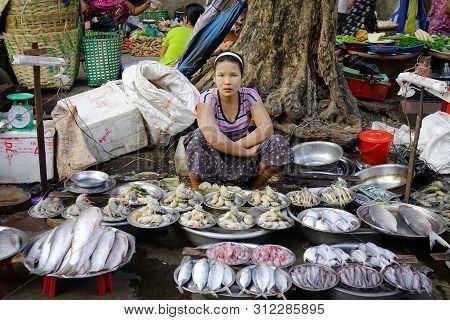 Yangon, Myanmar - Feb 13, 2017. A Burmese Woman Selling Fresh Fish At Street Market In Yangon, Myanm