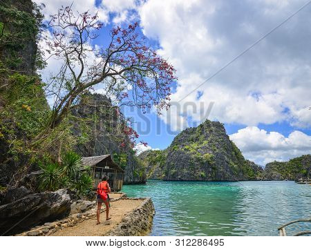 Coron, Philippines - Apr 9, 2017. People Visit The Kayangan Lagoon In Coron, Philippines. Kayangan L