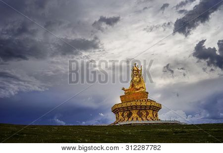 Sichuan, China - Aug 18, 2016. Big Buddha At Sunset In Garze Tibetan, Sichuan, China. Tibetan Buddhi