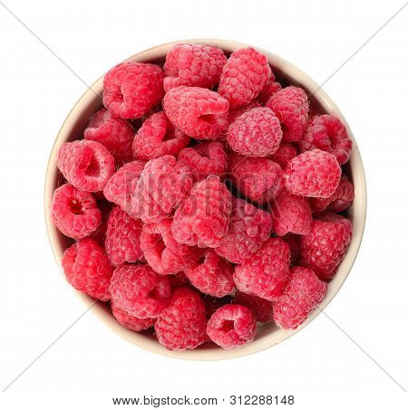 Bowl Of Delicious Fresh Ripe Raspberries On White Background, Top View