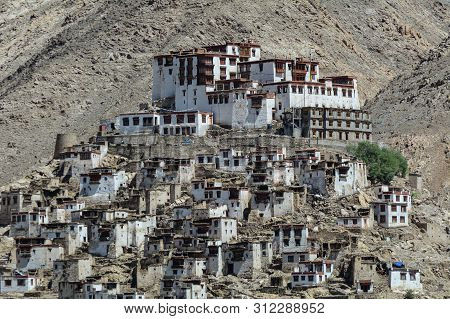 Thiksey Gompa In Ladakh, India. The Monastery Is Noted For Its Resemblance To The Potala Palace In L
