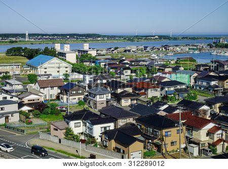 Sakata, Japan - May 19, 2017. Aerial View Of Sakata City In Tohoku, Japan. Sakata Is A City Located